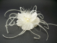 Ivory Rose Silk Bridal Hair Accessory Fascinator pearl Swarovski