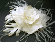 Ivory Silk Dupioni Bridal Dress Sash Pin Poppy Rose Large Fascinator Clip Wedding Dress Accessory