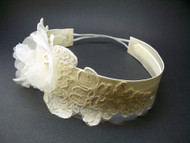 Ivory Silk Rose Bridal Headband Wedding Pearls Swarovski Crystals Lace