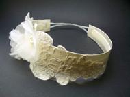 Ivory Silk Rose Bridal Headband Wedding Pearls Swarovski Crystals Lace