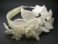 Ivory Stephanotis Bridal Headband Swarovski Crystals Wedding Headwear