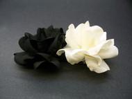 Ivory, Black Miniature Polianta Rose Duo Hair Clip Wedding Accessory
