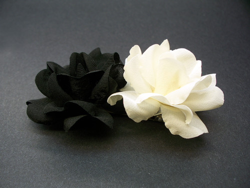Ivory, Black Miniature Polianta Rose Duo Hair Clip Wedding Accessory