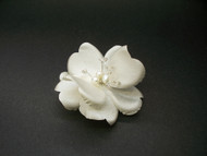 Light Ivory Dogwood Rose Bridal Hair Accessory Wedding Veil Clip