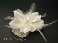 Light Ivory Rose Silk Bridal Hair Accessory Fascinator Pearl Swarovski