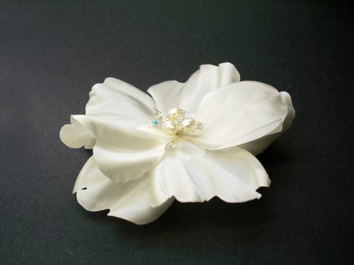Mermaid Rose White Bridal Silk Flower Hair Clip Wedding Veil Accessory