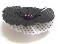 Oriental Flower Dress Brooch Pin Silk Poppy Black, White Polka Dot