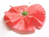 Peach Oriental Poppy Hair Clip French Silk Flower Girl Hair Accessory