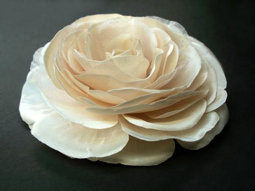 Pearl Champagne Pink Ranunculus Bridal Hair Wedding Dress