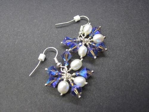 Pearl Crystal Dangle Earrings Something Blue Gifts