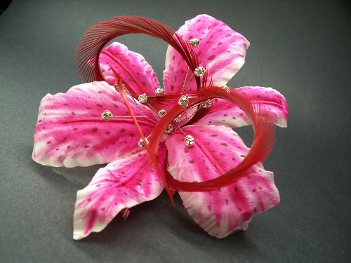 Pink Stargazer Lily Hair Clip Silk Flower Ruby Red Fascinator crystal