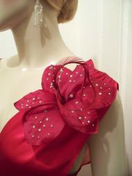 Red Amaryllis Bridal Hair Clip Men Corsage Wedding Accessory Crystal