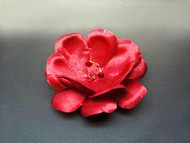Red Camellia Dress Pin Hair Clip Silk Flower Accessory Swarovski