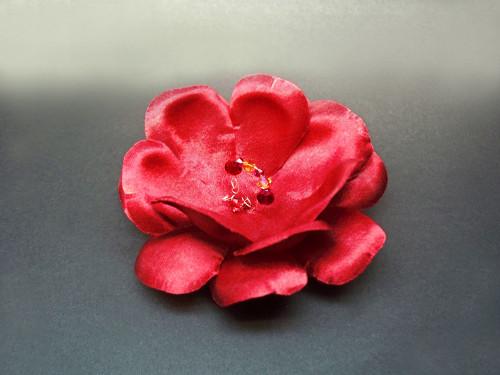 Red Camellia Dress Pin Hair Clip Silk Flower Accessory Swarovski