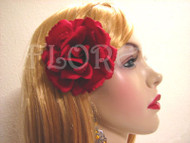 Red French Silk Rose Bridal Hair Clip Wedding Accessory Holiday Gift