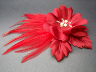 Red Rose Flower Hair Clip Bridal Accessory Fascinator pearl Swarovski