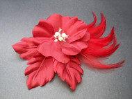 Red Rose Flower Hair Clip Bridal Accessory Fascinator Pearls Swarovski