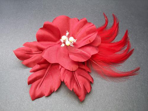 Red Rose Flower Hair Clip Bridal Accessory Fascinator Pearls Swarovski