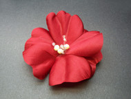 Red Rose Flower Hair Clip Bridal Accessory Wedding Pearls Swarovski