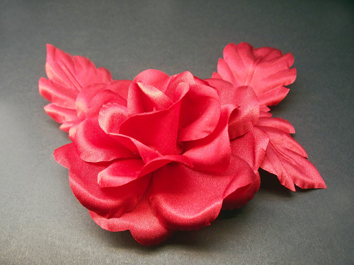 Red Rose Prom Bridal Hair Clip Queen French Silk Flower Veil Accessory