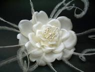 Rose Feather Bridal Hair Flower Accessory White Wedding Veil Fascinator