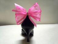 Sassy Designer Shoe Bow Clips Hot Pink Organdy Gifts Swarovski Crystals