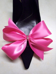 Sassy Designer Shoe Bow Clips Hot Pink Satin Gifts Swarovski Crystals
