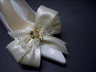 Sassy Designer Shoe Bow Clips Ivory Satin Lace Pearls Swallow Charms