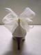 Sassy Ivory Organdy Bow Shoe Clips w Swarovski Crystals