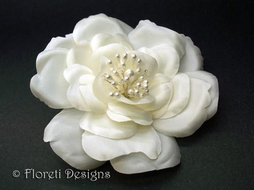 Silk Rose Bridal Hair Flower Accessory Off White Wedding Veil Clip