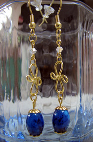 Gold Dipped Blue Dangle Earrings Swarovski Crystals