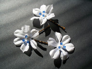 Small Bridal Hair Pins white, blue Swarovski Wedding Veil Accessory, 3