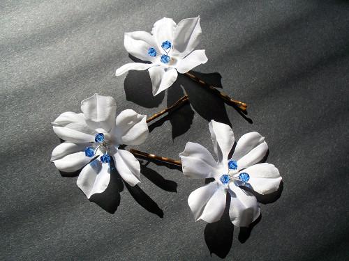 Small Bridal Hair Pins white, blue Swarovski Wedding Veil Accessory, 3
