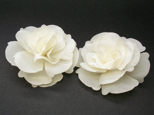 Small Ivory Magnolia Silk Flower Couture Bridal Wedding Shoe Clips, 2