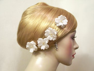 Small Rose Silk Bobby Pins Wedding Hair Flower Ivory Pearl Crystal, 4