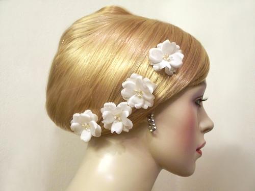 Small Rose Silk Bobby Pins Wedding Hair Flower Ivory Pearl Crystal 4