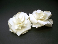 Snow Bride Small Ivory French Silk Rose Wedding Hair Flower Clip Duo