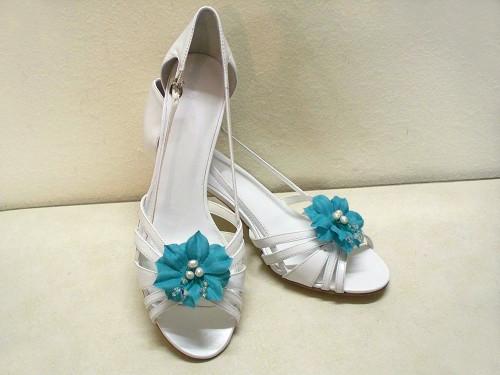 Turquoise Blue Camellia Shoe Clips White Pearls Blue Swarovski Crystal