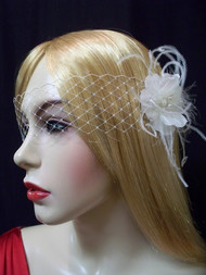 Wedding Birdcage Veil White French Bandeau Mask 2.25in Accessory No 4