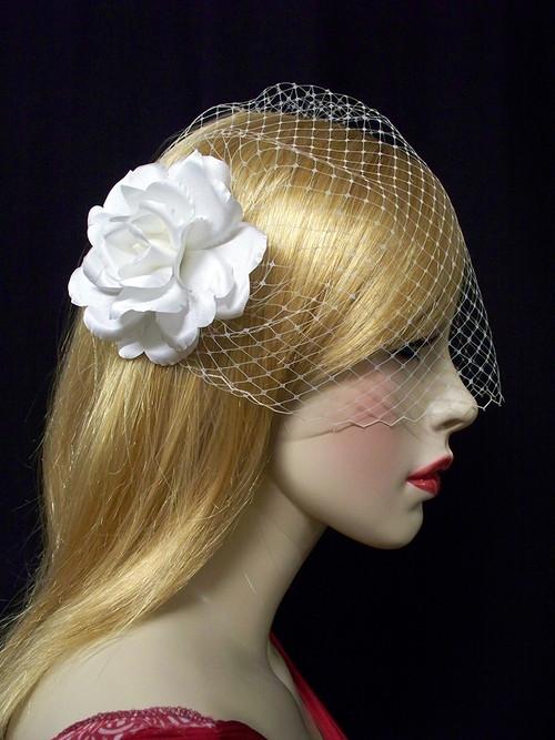 Wedding Bridal Bandeau Birdcage Veil White Rose Hair Flower Headwear