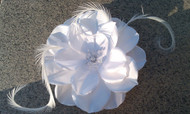 White Bridal Hair Accessory Flower Fascinator pearl Swarovski Veil