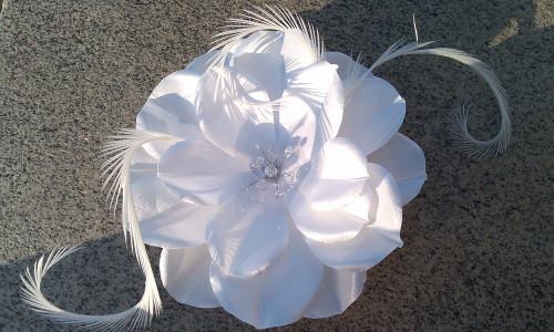 White Bridal Hair Accessory Flower Fascinator pearl Swarovski Veil