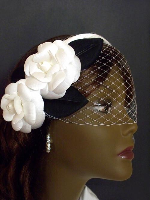 White Camellia Wedding Birdcage Veil Bridal Hair Accessory