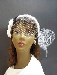 White Camellia Wedding Birdcage Veil Headband Bridal Hair Accessory