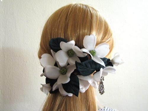 White Dogwood Bridal Silk Hair Flower Accessory Barrette