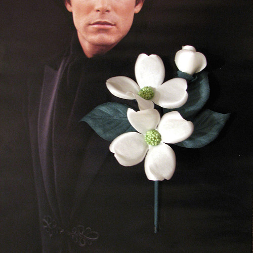 7e573d071fd ... Mens Tux Flower Prom. White Dogwood Grooms Tuxedo Boutonniere Wedding  Corsage