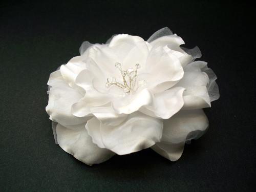 White Gardenia Bridal Flower Dress Hair Clip Swarovski Crystal Wedding