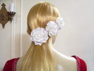 White Gardenia Bridal Hair Clips Wedding Dress Pin, 4 Piece Set