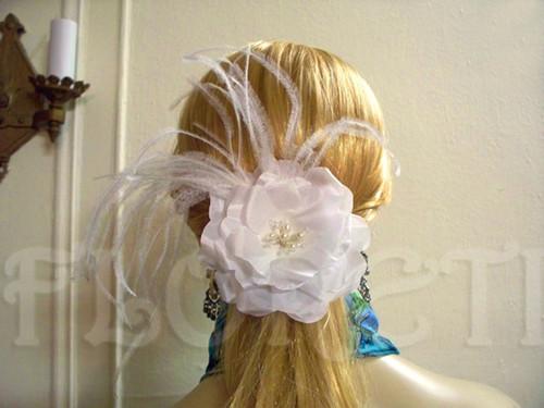 White Rose Bridal Hair Flower Clip Fascinator Pearls Swarovski Crystal