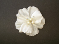 White Rose Silk Bridal Hair Accessory Clip Pearls Wedding Veil Flower